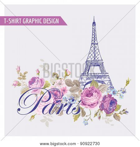 Floral Paris Graphic Design - for t-shirt, fashion, prints - in vector