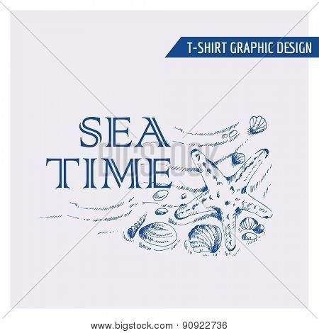Nautical Beach Graphic Design - for t-shirt, fashion, prints - in vector