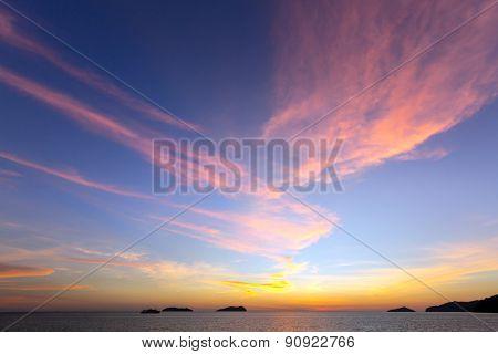 Beautiful Sea Sunset at Kota Kinabalu Sabah Malaysia