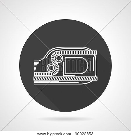 Ascender black round vector icon
