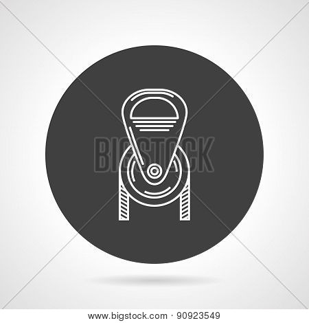 Pulley black round vector icon