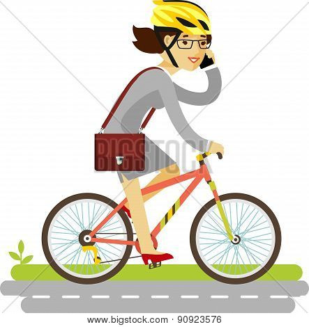 Businesswoman in helmet riding a bike isolated on white background in flat style