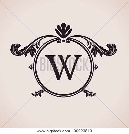 Luxury logo letter clock. Calligraphic pattern elegant decor elements. Vintage vector ornament W