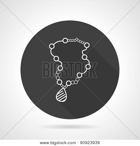 Necklace black round vector icon