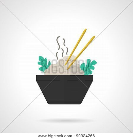 Rice bowl flat vector icon