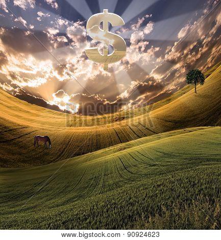 Large silver dollar symbol over serene landscape