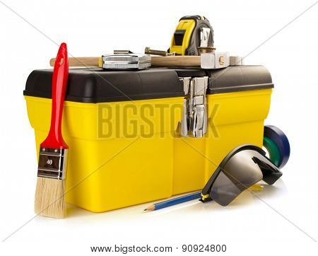 tools and instruments with toolbox isolated on white background