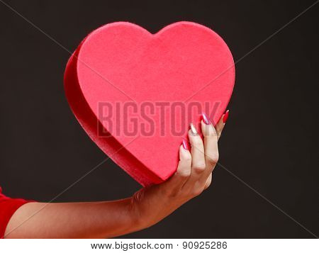 Woman Hand Holding Heart Box.