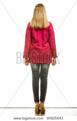 Blonde Fashionable Woman In Vivid Color Coat.