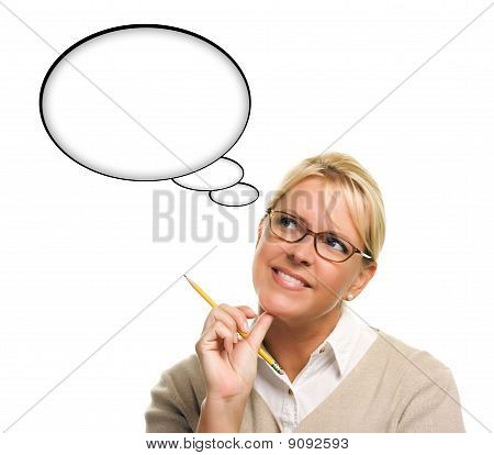 Beautiful Woman And Blank Thought Bubbles With Clipping Path