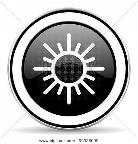sun icon, black chrome button, waether forecast sign