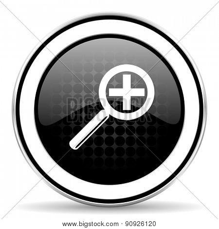 lens icon, black chrome button