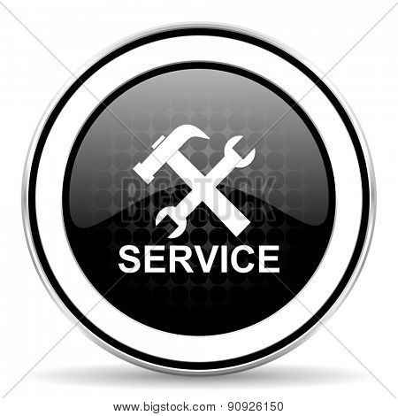 service icon, black chrome button