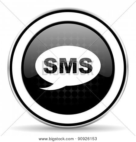 sms icon, black chrome button, message sign