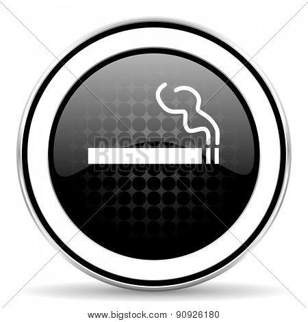 cigarette icon, black chrome button, nicotine sign