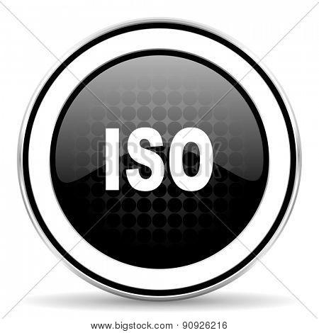 iso icon, black chrome button