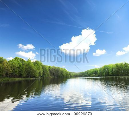 lake in silent summer day with reflections of clouds