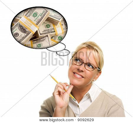 Woman With Thought Bubbles Lots Of Money