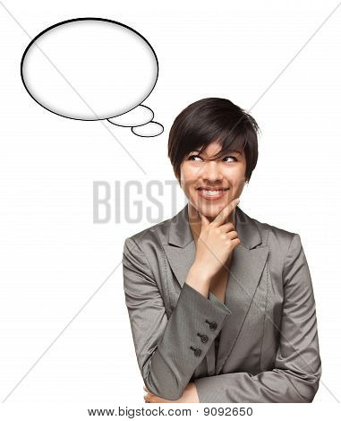 Beautiful Multiethnic Woman With Blank Thought Bubbles And Clipping Path
