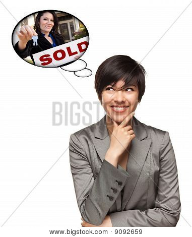 Multiethnic Woman With Thought Bubbles Of Agent Handing Over Keys