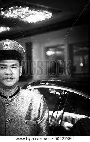 Parking Attendant Outside Luxury 5 Star Gl Hotel Bangkok Thailand
