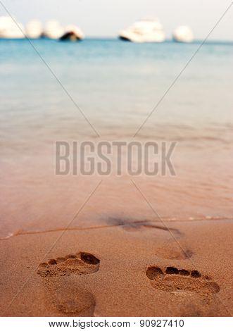 Summer,sea,ocean,beach,sand And Footprints In Sand