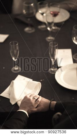 Bride And Groom Holding Hands In Wedding Banquet Marriage Party