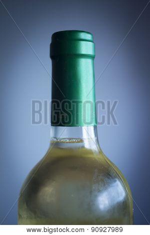 White Wine Bottle Studio Isolated Close-up Plain Blue Background