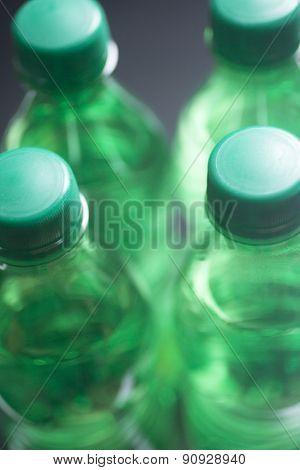 Isolated Plastic Water Bottles Blue Background Studio