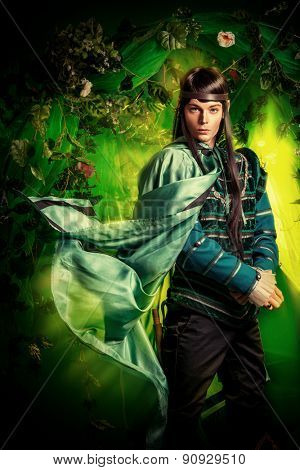 Noble fairy elf in the magic forest. Fantasy. Fairy tale, magic.