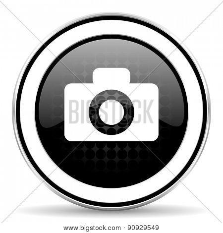camera icon, black chrome button