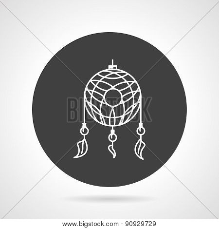 Dreamcatcher black round vector icon