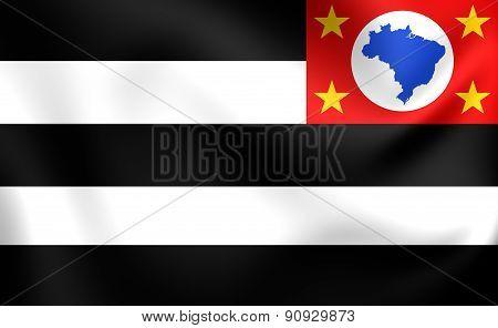 Flag Of Sao Paulo State, Brazil.