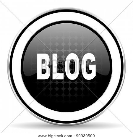 blog icon, black chrome button