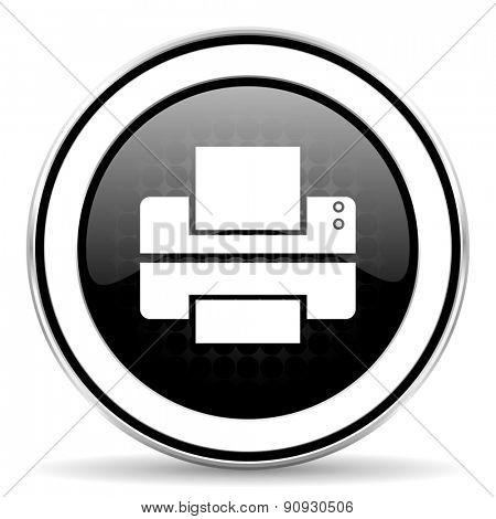 printer icon, black chrome button, print sign