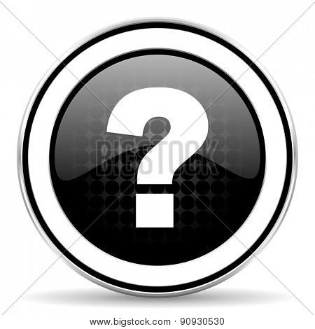 question mark icon, black chrome button, ask sign