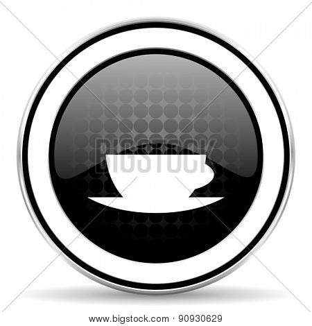 espresso icon, black chrome button, caffe cup sign