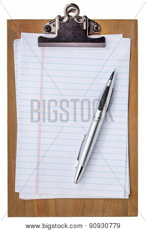 wooden clipboard with blank paper and pen isolated on white