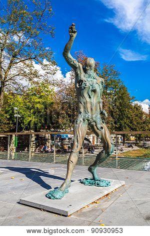 Statue Of Prometheus In Ljubljana