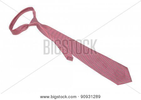 tie a red strip on a white background