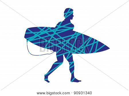 Surfer Walking with Board Silhouette and Lines