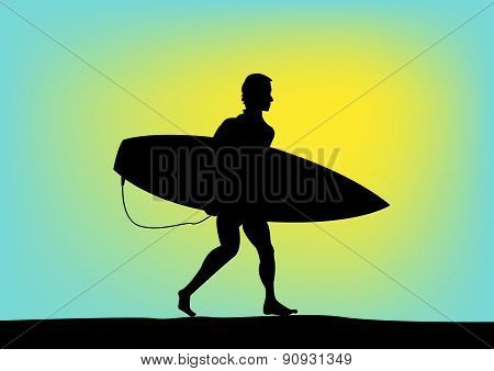 Silhouette of a Surfer in Yellow Green Background. Editable EPS10 Illustration