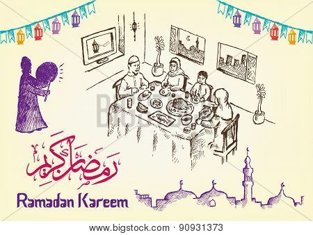 Hand Drawn Ramadan Festivity Image Themes with Ramadan Kareem Greeting in Arabic Calligraphy and Eng