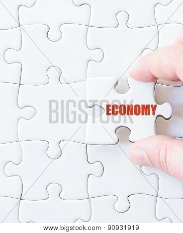 Missing Jigsaw Puzzle Piece With Word  Economy