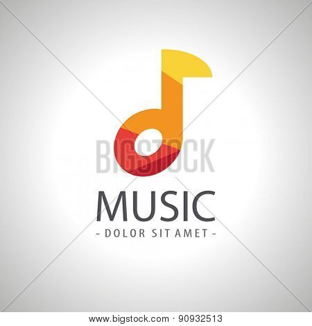 Abstract music note icon logo