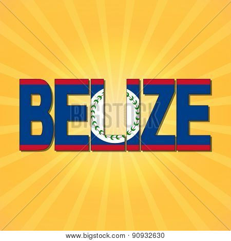 Belize flag text with sunburst illustration