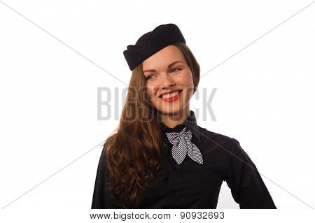 Studio shot of beautiful young flight attendant in black clothing
