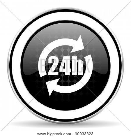 24h icon, black chrome button