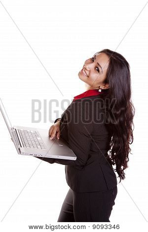 Business Woman Laptop Looking Over Shoulder