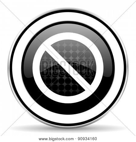 access denied icon, black chrome button